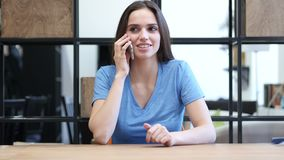 Phone Call, Woman Talking On Smartphone, Indoor Office,Young,,,,. Phone Call, Woman Talking On Smartphone, Indoor Office , young creative designer , good looking stock footage