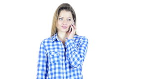 Phone Call, Woman Talking On Smartphone, White Background,Young,,,,. Phone Call, Woman Talking On Smartphone, White Background , young creative designer , good stock video