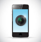 Phone and camera lens illustration design Stock Photos