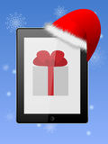 Phone in the cap. Smartphone with a gift in Christmas cap royalty free illustration