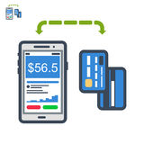 Phone and cards payment flat  icon. Icon of mobile payments with cards Stock Photography