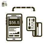Phone and cards payment vector icon. Icon of mobile payment with card Royalty Free Stock Image