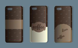 Phone case with coffee pattern. Set of brown back covers. Vector illustration of a sticker or sample cover for coffee lovers. royalty free stock photos