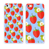 Phone case collection.Colorful background made of strawberry in flat design. Funny fruit. Cute Seamless Pattern in flat style. Royalty Free Stock Photo