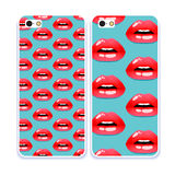Phone case collection.Cosmetics and makeup pattern. Open mouth. Sweet kiss.Retro mobile phone decals. Royalty Free Stock Photography