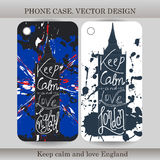 Phone case cover with hand drawn England illustration. Design with flag, building and lettering for gadget.  Stock Photos