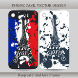 Phone case cover with hand drawn France illustration. Design with flag, building and lettering for gadget. Vector illustration Stock Photos
