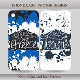 Phone case cover with hand drawn Greece illustration.  Stock Photos