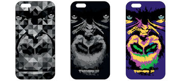 Phone case. With gorilla illustration Stock Images