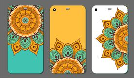 Phone case mandala design set. Vintage decorative elements. Hand drawn background. Islam, Arabic, Indian, ottoman motifs. Vector illustration of Phone case Royalty Free Stock Photography