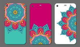 Phone case mandala design set. Vintage decorative elements. Hand drawn background. Islam, Arabic, Indian, ottoman motifs. Vector illustration of Phone case Stock Images