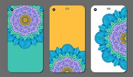 Phone case mandala design set. Vintage decorative elements. Hand drawn background. Islam, Arabic, Indian, ottoman motifs. Vector illustration of Phone case Royalty Free Stock Photos