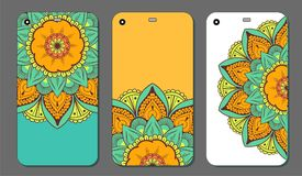 Phone case mandala design set. Vintage decorative elements. Hand drawn background. Islam, Arabic, Indian, ottoman motifs. Vector illustration of Phone case Royalty Free Stock Image