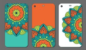 Phone case mandala design set. Vintage decorative elements. Hand drawn background. Islam, Arabic, Indian, ottoman motifs. Vector illustration of Phone case Stock Photos