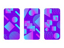 Phone case mockup. Memphis pattern background. Gradients geometric shape style of the 80s. Smartphone cases set. Vector. Illustration vector illustration