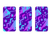 Phone case mockup. Memphis pattern background. Gradients geometric shape style of the 80s. Smartphone cases set. Vector. Illustration stock illustration