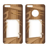 Phone case. Paper and pencil, ruler, eraser, sharpener on lath boards. Royalty Free Stock Photos
