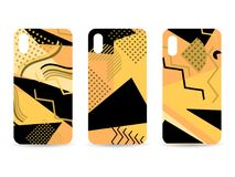 Phone case set. Memphis pattern background. Geometric elements memphis in the style of 80s. Vector. Illustration vector illustration