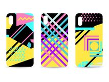 Phone case set. Memphis pattern background. Geometric elements memphis in the style of 80s. Vector. Illustration royalty free illustration