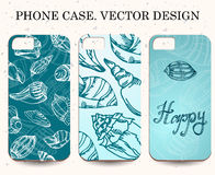 Phone case. Vintage vector background. Decorative shell elements Royalty Free Stock Photography