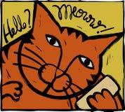 Phone cat. Linocut of cat seemingly on phone Royalty Free Stock Image