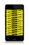 Phone with caution illustration design Royalty Free Stock Image