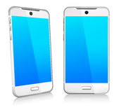 Phone Cell Smart Mobile 3D and 2D. Silver White Phone Cell Smart Mobile 3D and 2D Royalty Free Stock Photos