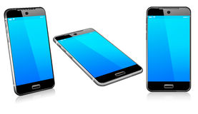 Phone Cell Smart Mobile 3D and 2D. Stylish modern cell mobile phone on a white background with reflection Stock Photo