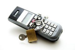 Phone with chain and lock Royalty Free Stock Photo