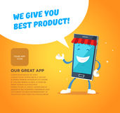 Phone character app market. Concepts for web Stock Photography