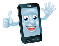Phone character. Mobile phone cartoon character waving and giving a thumbs up Stock Photography