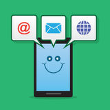 Phone Character Notifications Royalty Free Stock Photo