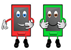 Phone Characters. Illustration of two smartphone characters with human features Stock Image