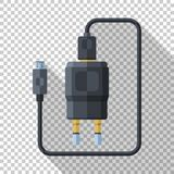Phone charger icon with micro USB connector in flat style on transparent background. Phone charger icon with micro USB connector in flat style with long shadow vector illustration