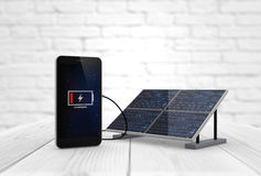 Phone charging solar pannel. Digital generated smart phone charging with solar pannel. Screen graphics are made up Stock Image