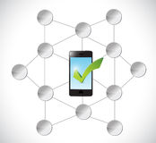 Phone and check mark and diagram illustration Stock Photography