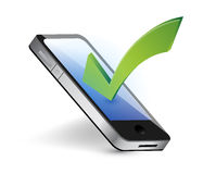 Phone and checkmark illustration Stock Photography