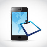 Phone and clipboard illustration design Royalty Free Stock Photography