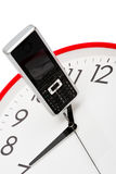 Phone and clock Royalty Free Stock Image