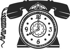 Phone and clock Royalty Free Stock Photography