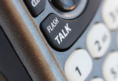 Phone closeup with talk button in selective focus Royalty Free Stock Photography