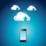 Phone and cloud computing balloons illustration Royalty Free Stock Photos