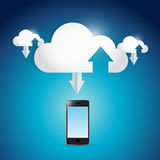 Phone and cloud computing connection illustration Stock Photography