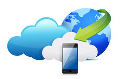 Phone cloud computing moving concept Stock Image