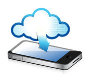Phone with cloud computing symbol on a screen Royalty Free Stock Photos