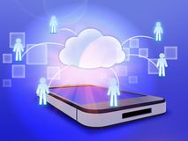 Phone and cloud computing to people in a network. Stock Photo
