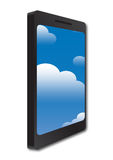 Phone and cloud concept. Mobile phone with sky and clouds reflecting on the screen. Cloud concept Stock Photos