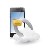 Phone cloud and folder connection illustration. Design over white stock illustration