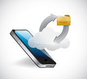 Phone cloud and folder illustration design. Over a white background Royalty Free Stock Photography