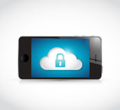 Phone and cloud security communication Royalty Free Stock Photos